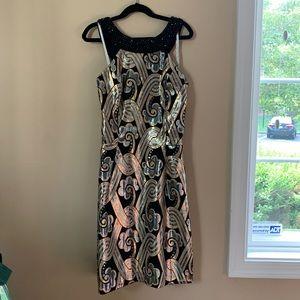 Lilly Pulitzer, beaded collar metallic dress
